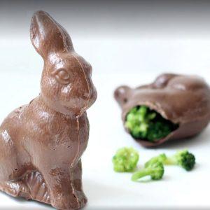 chocolate bunny with broccoli inside