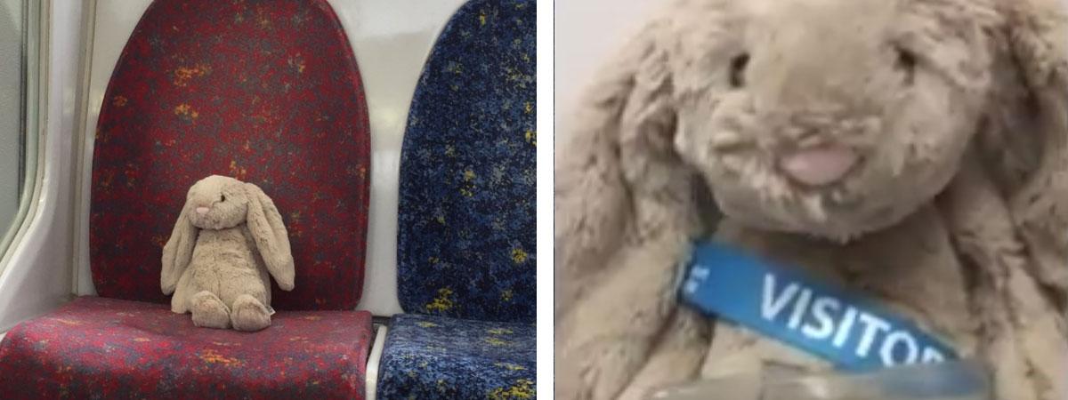 plush rabbit riding train