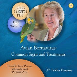 webinar 56 slide promotes Dr. Susan Orosz's discussion of Avian Bornavirus