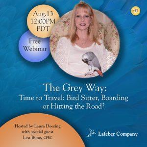 webinar 53 slide promotes Lisa Bono discussing bird sitting, boarding, and travel