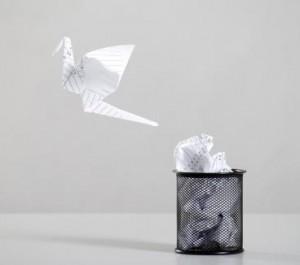 origami paper bird, recycle bird, go green