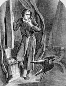 """John Tenniel illustration for Edgar Allan Poe's """"The Raven"""": 1858."""
