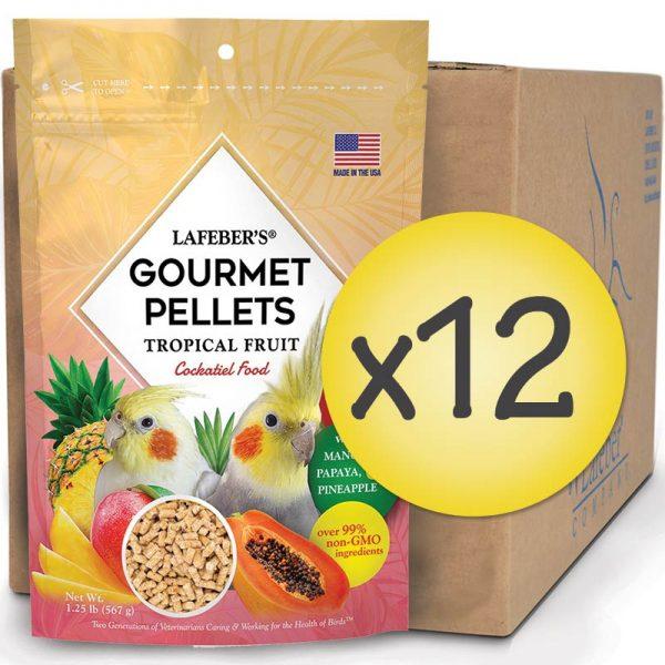 Case of 12 Cockatiel Tropical Fruit Gourmet Pellets 1.25 lbs