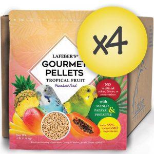 Case of 4 Parakeet Tropical Fruit Gourmet Pellets 4 lbs