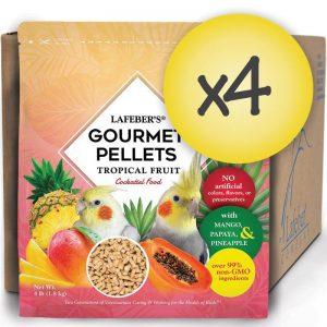 Case of 4 Cockatiel Tropical Fruit Gourmet Pellets 4 lbs