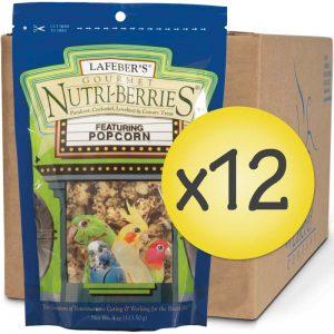 Case of 12 Popcorn Nutri-Berries for Cockatiels 4oz