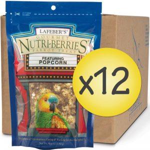 Case of 12 Popcorn Nutri-Berries for Parrots 4 oz
