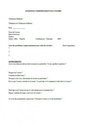 Formulaire d'Anamnèse Comportementale Aviaire 1