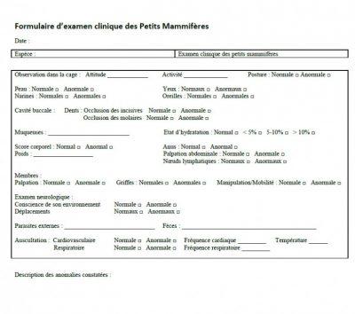 Formulaire d'examen clinique des Petits Mammifères