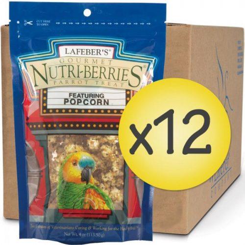 Case of 12 Popcorn Nutri-Berries for Parrots 4 oz (113 g)