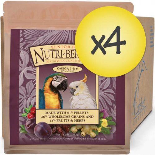 Case of 4 Senior Bird Nutri-Berries for Macaw Cockatoo 3 lb (1.56 kg)