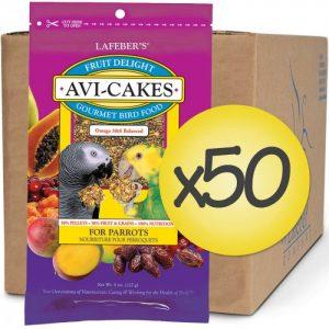 Case of 50 Fruit Delight Avi-Cakes for Parrots 8 oz (227 g)