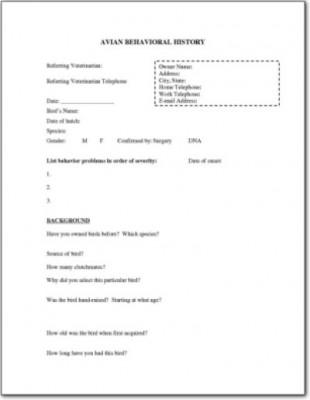 Behavioral History Form 1