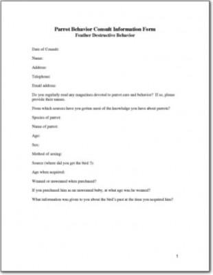 Avian Behavioral History Form 2