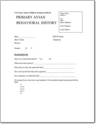 Avian Behavioral History Form 5