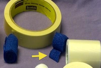 Corte el material de vendaje al ancho apropiado para prevenir abultamiento del material.