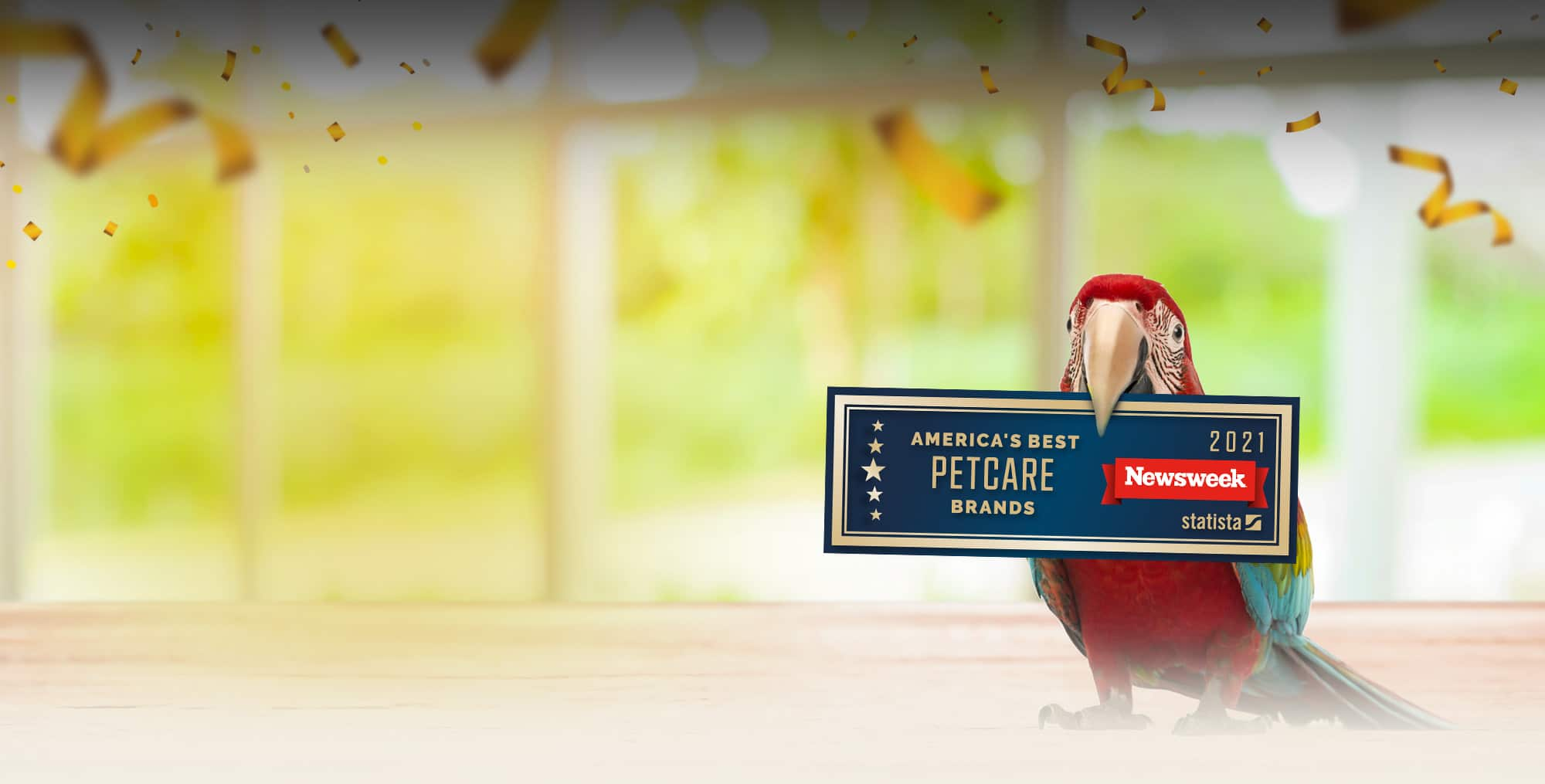 macaw holding sign about Newsweek's America's Best Petcare Brands